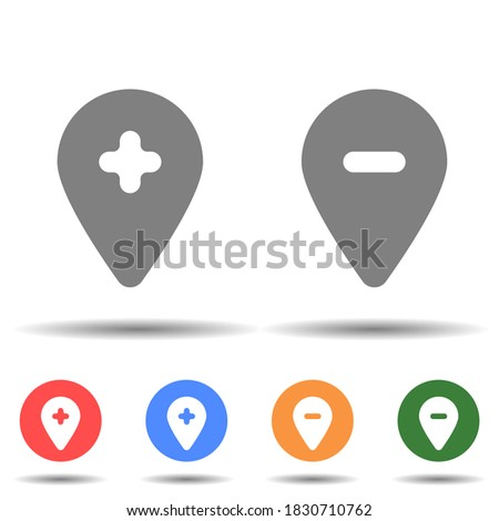 Location pin with cross line icon. Hospital add remove location