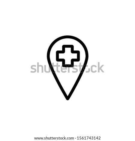 Location pin with cross line icon. Hospital location vector illustration isolated on white. Pin location with medical cross outline style design, designed for web and app. Eps 10