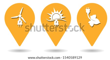 Location pins for green energy, wind energy and solar energy