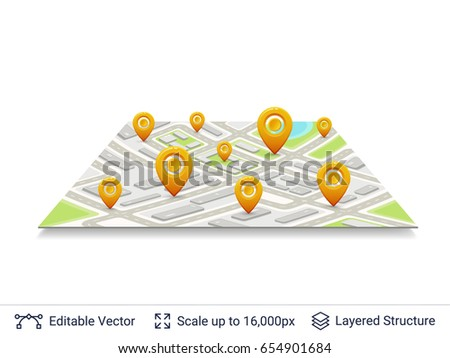 Location pins on city plan. Map navigation elements. Vector icons east to edit. #654901684
