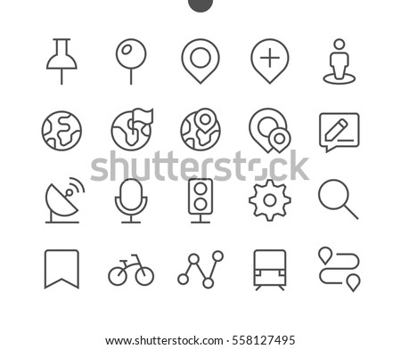 Location Pixel Perfect Well-crafted Vector Thin Line Icons 48x48 Ready for 24x24 Grid for Web Graphics and Apps with Editable Stroke. Simple Minimal Pictogram Part 1-4