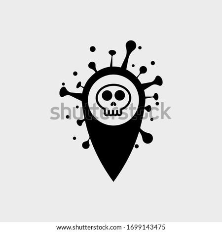 location point Coronavirus COVID-19 in the shape of a Skull . Virus bacteria Coronavirus nCoV, map pin locator deadly virus