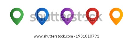 Location pointer icon set. Map pins set. Location symbols collection. GPS navigation pointer. Navigation concept. Place indicator. Geolocation signs set. Geotargeting pin. Vector graphic. EPS 10