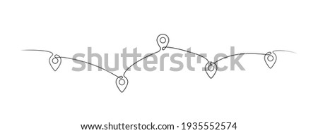 Location pointers, one line drawing. Continuous one line pin pointers vector illustration. Gps navigation pointers. Line art. Travel concept. Location, pin, pointer icon symbol one line art design. EPS