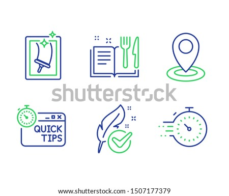 Location, Recipe book and Hypoallergenic tested line icons set. Quick tips, Window cleaning and Timer signs. Map pointer, Food, Feather. Helpful tricks. Business set. Vector