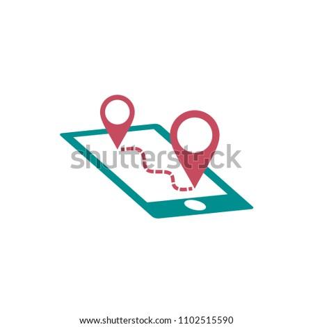 locator vector icon, mobile navigator in trendy flat design  #1102515590