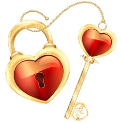 Lock and key in Red heart shape in gold frame and ornament illustration of white background