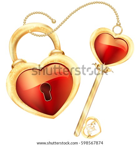 lock and key in red heart shape
