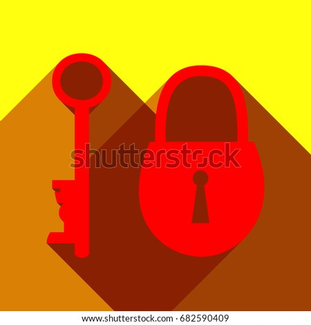 lock and key sign vector red