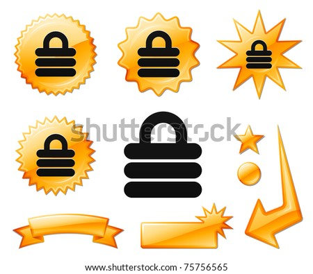 Lock Icon on Orange Burst Banners and Medals Original Vector Illustration