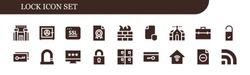 lock icon set. 18 filled lock icons.  Collection Of - Prison, Safe box, Ssl, File, Firewall, Domotics, Briefcase, Doorknob, Key, Lock, Password, Lockers, Smart house, Rss icons