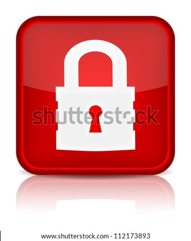 Lock icon. Sign with reflection isolated on white. Vector illustration
