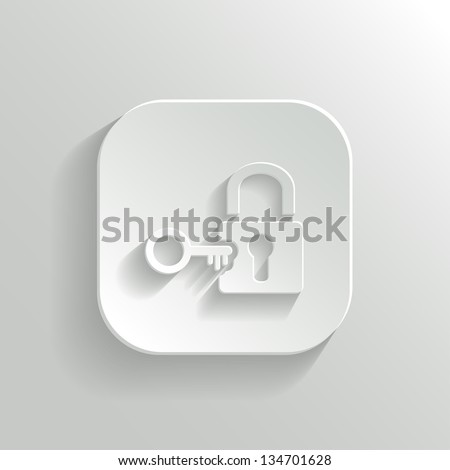 Lock icon - vector white app button with shadow
