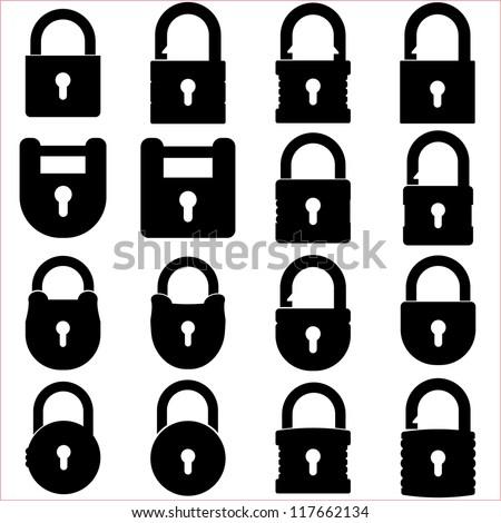 Lock icons set Stock photo ©