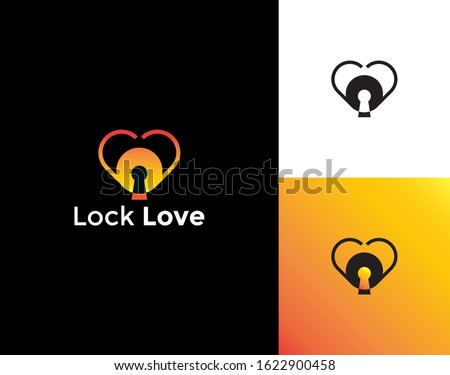 lock love logo design template