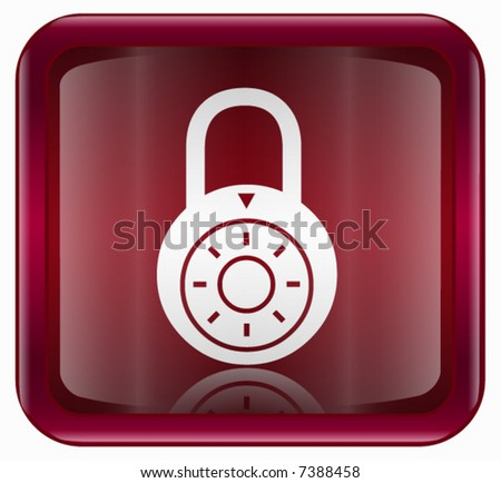 Lock off icon, red - stock vector