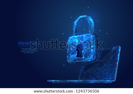 Lock on laptop screen. Low poly wireframe vector illustration. Digital data protect or secure concept. Starry sky consisting of points, lines and shapes on dark background. Polygonal notebook and lock