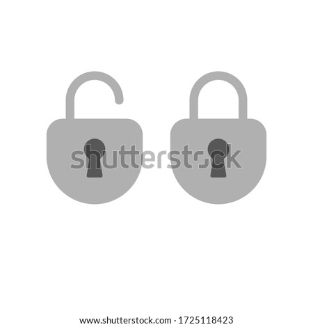 Lock open and closed icons. Symbol of securty and safety, keyhole and padlock pictograms.
