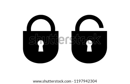 lock open and closed, password security symbol vector