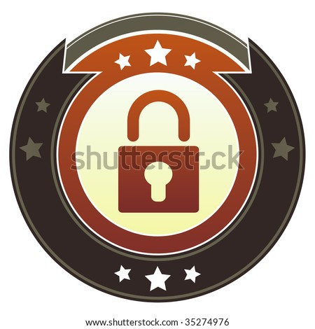 Lock or security icon on round red and brown imperial vector button with star accents suitable for use on website, in print and promotional materials, and for advertising.
