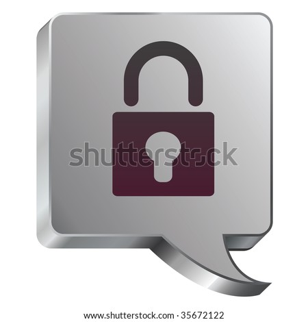 Lock or security icon on stainless steel modern industrial voice bubble icon suitable for use as a website accent, on promotional materials, or in advertisements.
