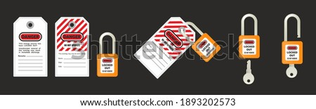 Lock out, tag out with a danger tag vector illustration. Danger and do not operate warning. Machine and electrical system and safety equipment. Isolated on black background.