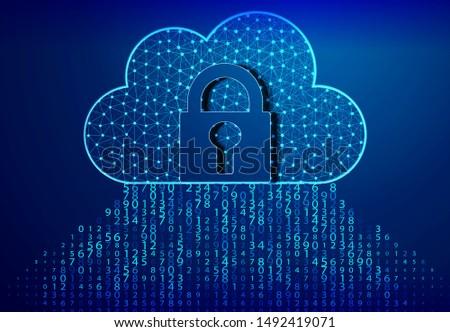 Lock, Padlock, and cloud computing code. Blue bytes of binary code flying through a vortex, background code depth of field/Binary code background