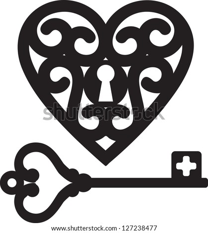 lock shaped heart and skeleton