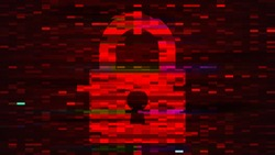 Lock sign on red digital screen with pixels and glitch effect