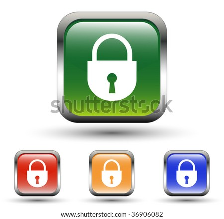 Lock Sign Square Icons - stock vector