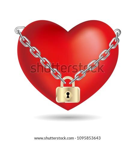 lock the heart symbolisolated