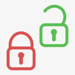 Lock unlock icon. Green and red lock icon. Flat vector stock illustration