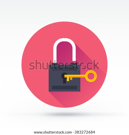 Lock with key flat vector icon.