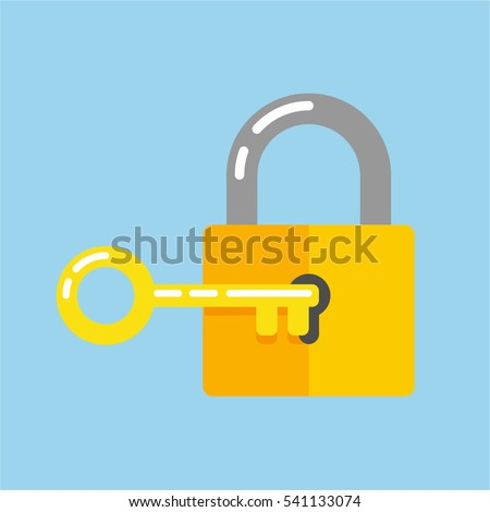 Lock with key in flat style icon.