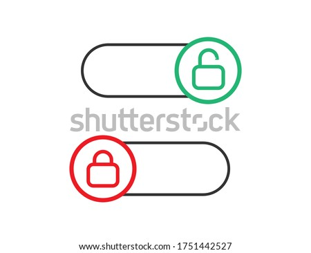 Locked and unlocked toggle. Switch on and off. Control slider. Red and green slider with round shape. Opened and closed symbol. Turn on and off. Isolated toggle. Vector EPS 10