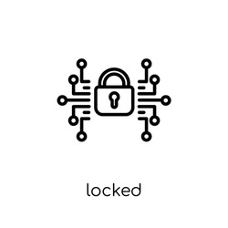 Locked icon. Trendy modern flat linear vector Locked icon on white background from thin line Internet Security and Networking collection, editable outline stroke vector illustration
