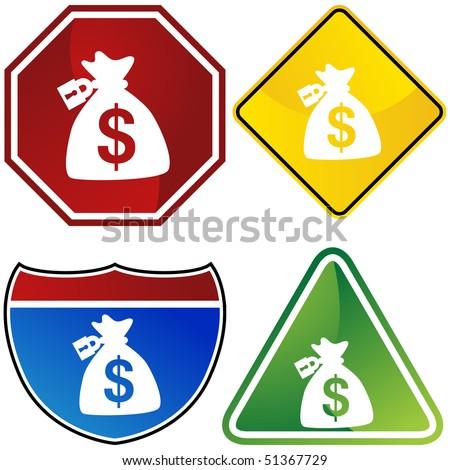 Locked Money Bag - stock vector