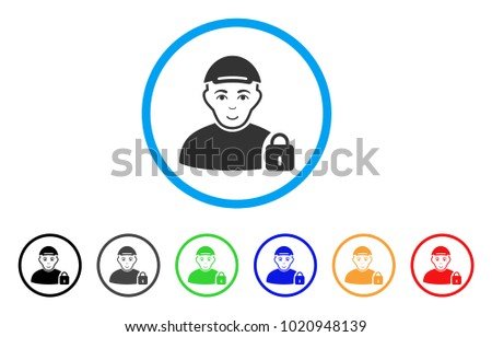 Locked User rounded icon. Style is a flat locked user grey symbol inside light blue circle with black, gray, green, blue, red, orange versions. Joy locked user vector pictogram.