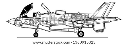 Lockheed Martin F-35B Lightning II. Takeoff configuration. Outline vector drawing