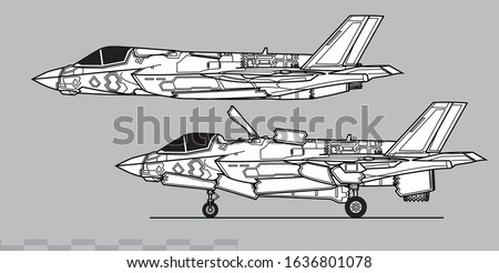 Lockheed Martin F-35B Lightning II. Vector drawing of modern military aircraft. Side view. Image for illustration.
