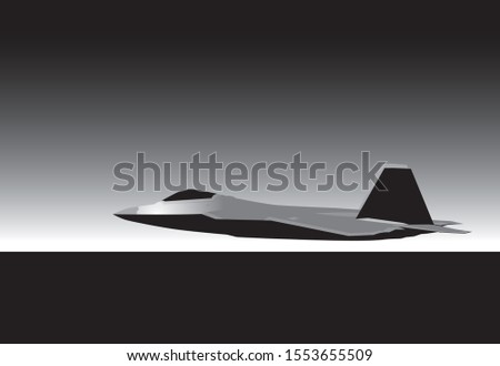 Lockheed Martin F-22 Raptor. Jet airplane in the sky. vector image for illustration. Vector template.