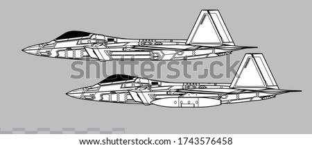Lockheed Martin F-22 Raptor. Vector drawing of stealth air superiority fighter. Side view. Image for illustration and infographics
