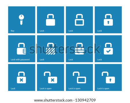 Locks icons on blue background. Vector illustration.