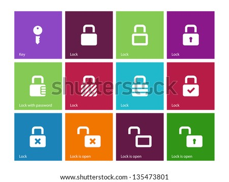Locks icons on color background. Vector illustration.