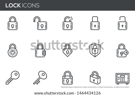 Locks vector line icons set. Keys, padlocks, safe deposit. Editable stroke. Perfect pixel icons, such can be scaled to 24, 48, 96 pixels. Stock photo ©