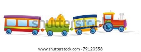 Locomotive cartoon isolated on the white background - stock vector