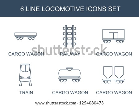locomotive icons. Trendy 6 locomotive icons. Contain icons such as cargo wagon, railway, train. locomotive icon for web and mobile.