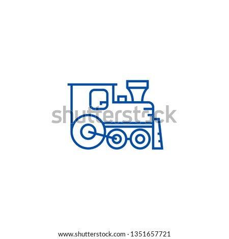 Locomotive line icon concept. Locomotive flat  vector symbol, sign, outline illustration.