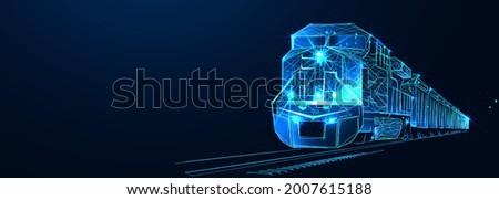 Locomotive. Third party logistics, train, transport, cargo export, import. Integrated warehousing and transportation operation service. Train delivery. Digital polygonal low poly 3dillustration, landi