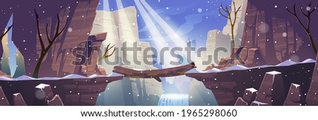 Log bridge at winter mountains above rock cliff. Scenery landscape with frozen waterfall, bare trees and falling snow. Beautiful nature view, beam connect rocky edges, Cartoon vector illustration